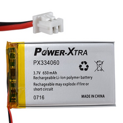 Power-Xtra PX334060 650 mAh Li-Polymer Battery with connector